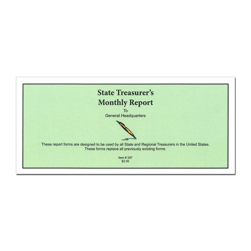 Treasurer's Monthly Report Book