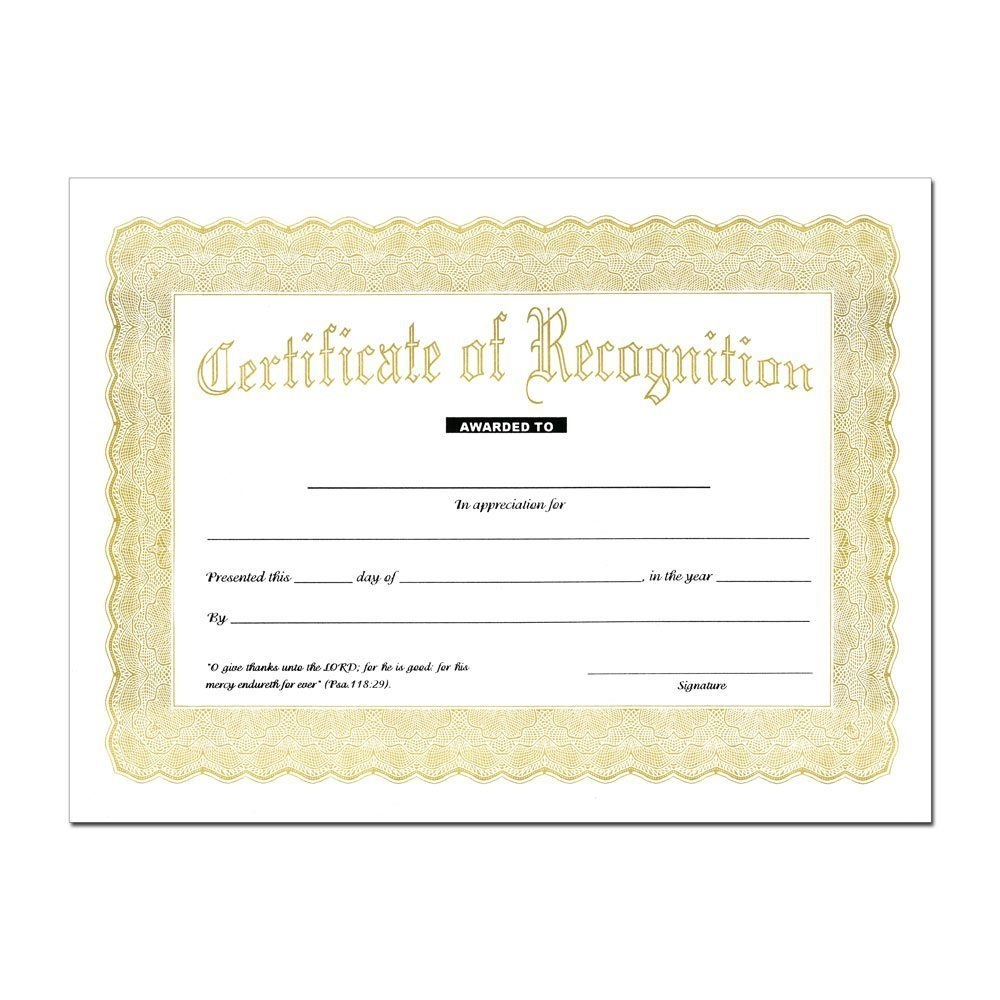 special recognition certificate